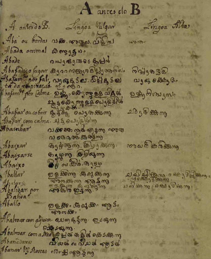 വൊക്കാബുലാറിയോ മലവാറിക്കോ-ആദ്യ താൾ