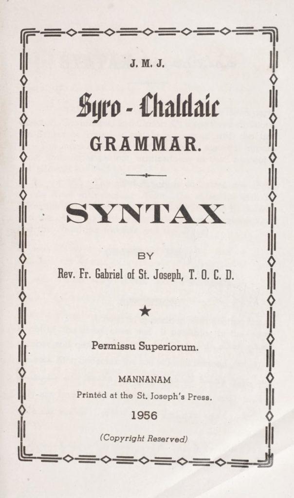 1956 - Syro-Chaldaic Grammar - Syntax